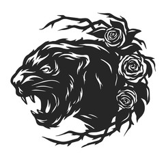 FototapetaThe head of a black panther and roses.