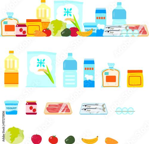 Fotografie, Obraz  スーパーマーケットで売っている食料品