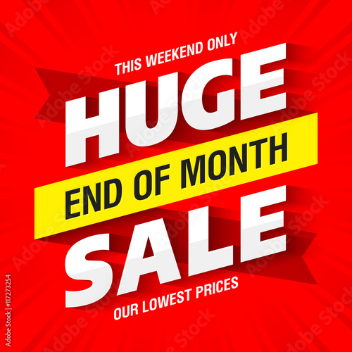 End of Month Huge Sale banner template Wall mural