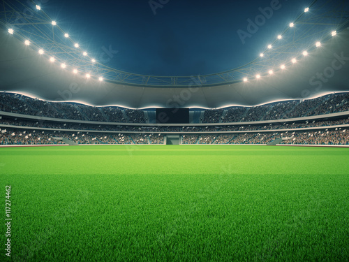 stadium with fans the night before the match. 3d rendering Poster
