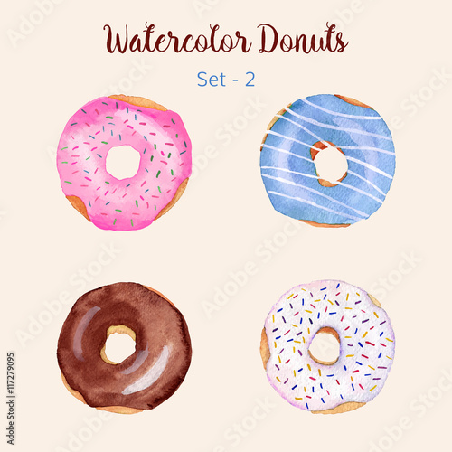 Watercolor donut set isolated on a light background Poster