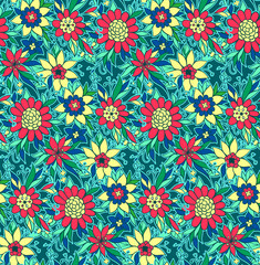 Vector seamless pattern with flower. Repeat colorful texture.