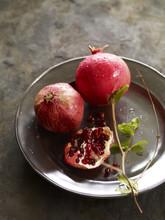 Pomegranates On Metal Platter