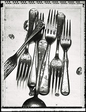 Black And White Image Of Forks