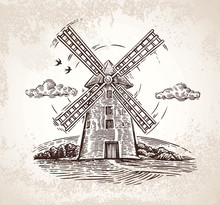 Windmill In Rural Landscape, Drawn By Hand, In A Graphic Style.