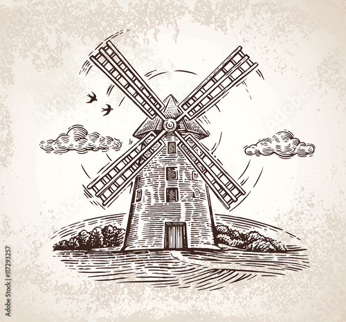 Fotografía  Windmill in rural landscape, drawn by hand, in a graphic style.