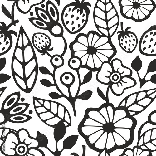 Poster Floral black and white Black and white seamless pattern with plants and berries.