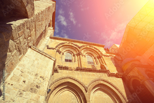 Perspective view of church of the holy sepulchre at sunset light Canvas Print