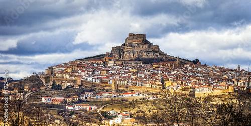 Impressive view of medieval village Morella Castellon, Valencian province