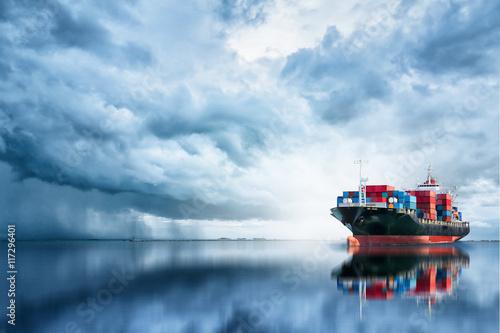 Fotografia  International Container Cargo ship in the ocean, Freight Transportation, Shippin