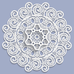 FototapetaLace 3D mandala, decorative flower, lace doily, decorative snowflake, arabic ornament, indian ornament, embossed pattern, vector
