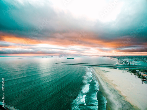 Sea and beach at sunset - 117306263