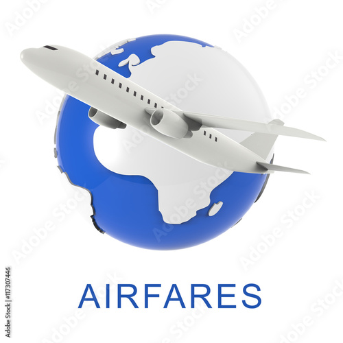 Flight Airfares Means Aircraft Prices And Travel 3d Rendering Wallpaper Mural
