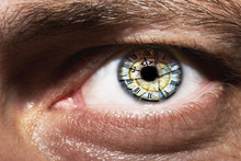 Image Of Man's Eye With Time C...
