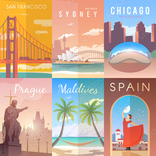 Vector retro posters set. Wallpaper Mural