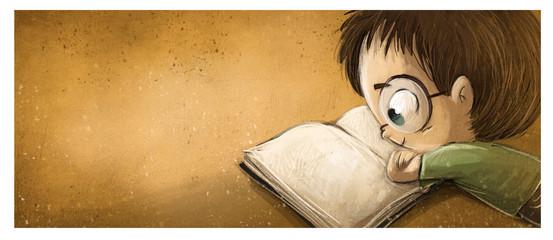 niño con gafas leyendo