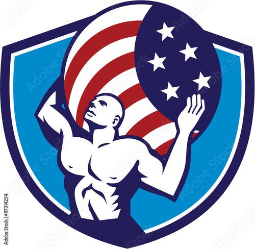 Cuadros en Lienzo Atlas Carrying Globe USA Flag Crest Retro