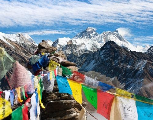 Wall Murals Nepal Everest, Lhotse and Makalu with buddhist prayer flags