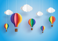 Colorful Hot Air Balloon And C...
