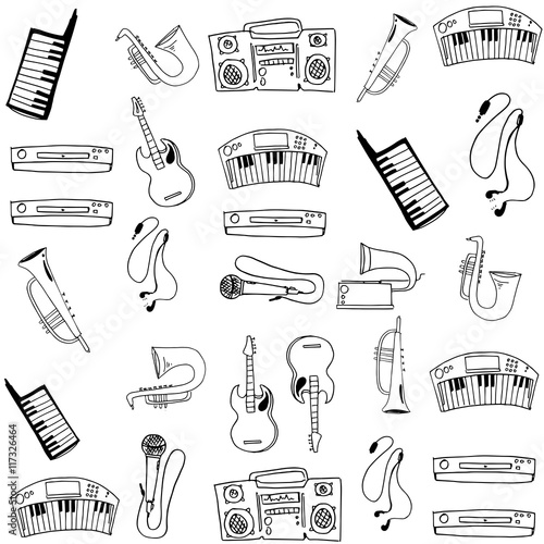 Poster Kranten Object music pack doodles