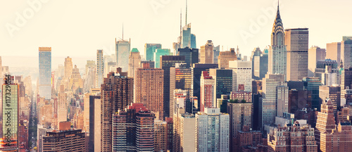 Obraz Aerial view of the New York City skyline - fototapety do salonu