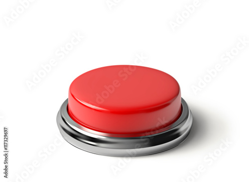 Fotografía  Red button isolated with clipping path