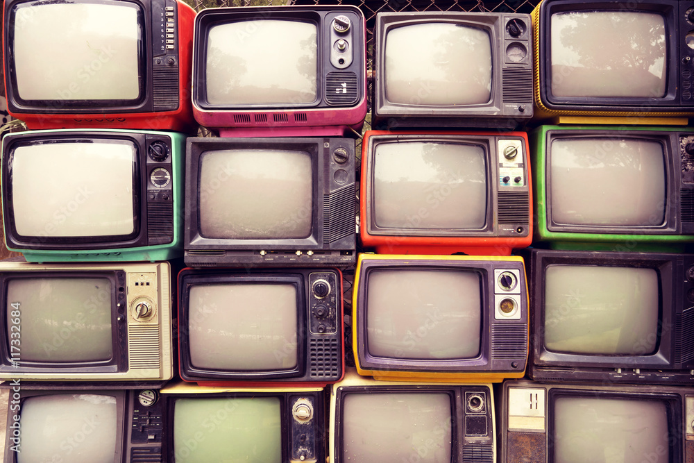 Fototapety, obrazy: Pattern wall of pile colorful retro television (TV) - vintage filter effect style.