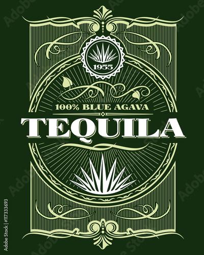 Fotografie, Obraz  Vintage alcohol tequila drink vector bottle label