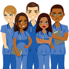Young Diversity Male And Female Nurse Team