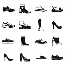Shoe Icons Set In Simple Style. Men And Women Shoes Set Collection Vector Illustration