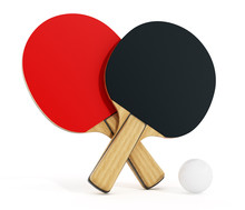 Ping Pong Or Table Tennis Rackets Isolated On White Background. 3D Illustration