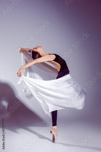 Plagát  Ballerina in black outfit posing on toes, studio background.