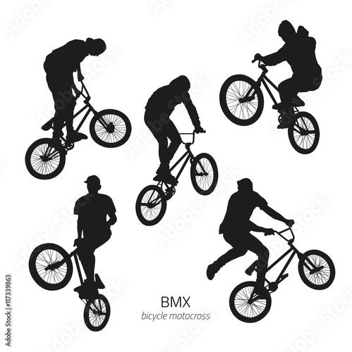 Fotografia, Obraz Black silhouettes of bmx rider jumping on a white background
