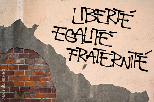 Foto op Aluminium Graffiti French text Liberte, Egalite, Fraternite ( Liberty, Equality, Fraternity ) - Handwritten graffiti on the wall, anarchist aesthetics. Revolutionist motto. Appeal to fight for republic and constitution