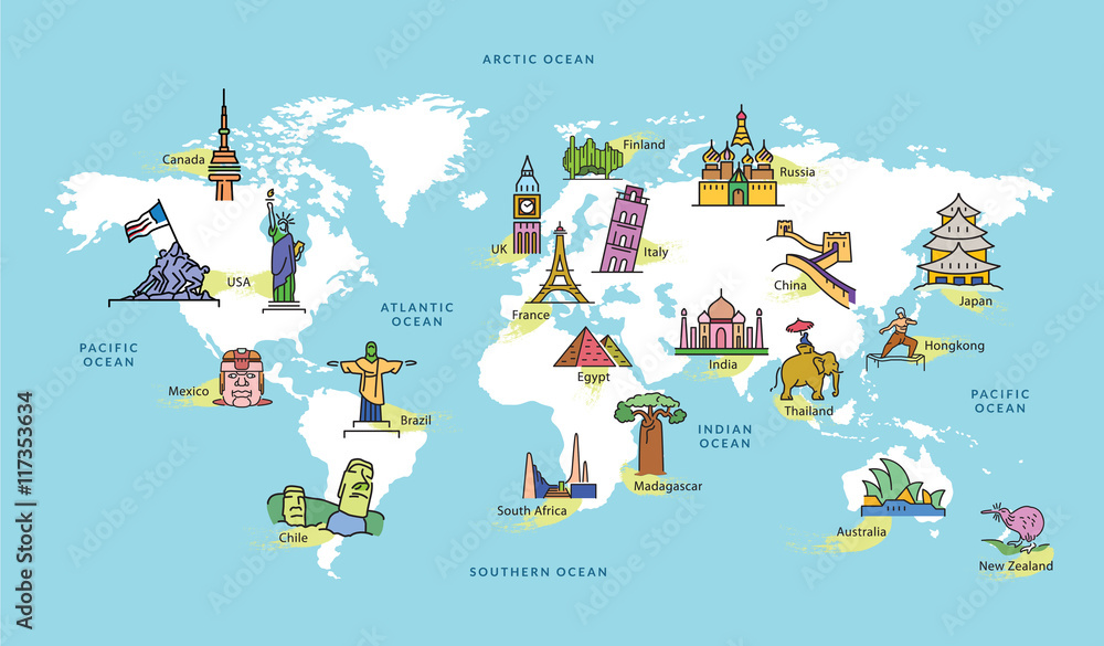 Fototapety, obrazy: World Map with Famous Country Landmark Symbol
