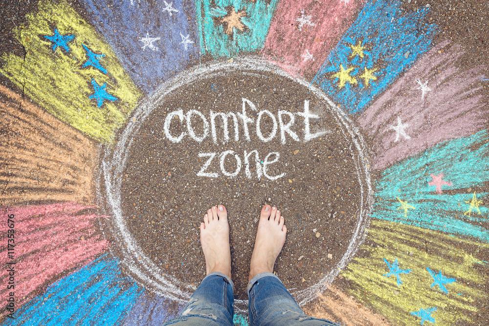 Fototapeta Comfort zone concept. Feet standing inside comfort zone circle.