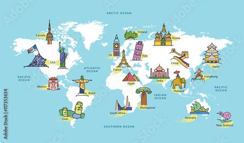 Obraz Mapa świata z symbolem słynnego kraju - fototapety do salonu