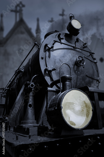 plakat Old steam locomotive