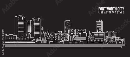 Valokuva Cityscape Building Line art Vector Illustration design - Fort worth city