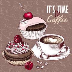 Fototapeta Poster with image a cup of coffee, cherry and strawberry chocolate cakes in pink-beige tones. Vector illustration.