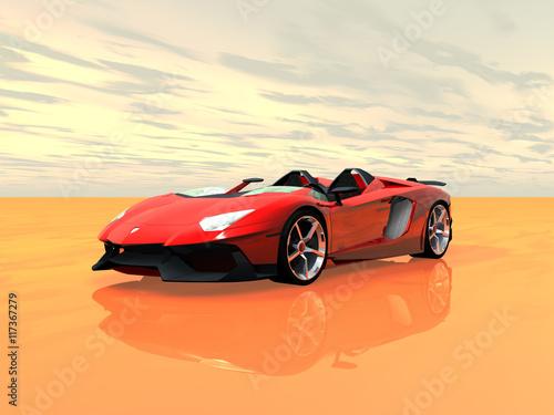 czerwone-wloskie-coupe-na-blyszczacej-pustyni