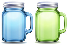 Blue And Green Jars With Alumi...