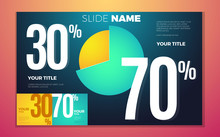 Bright Contrast Colors Infographic With Pie Chart, Boxes And Numbers