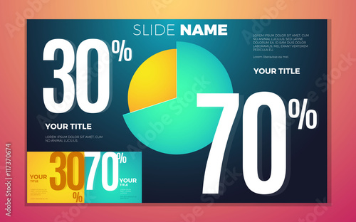 Photographie  Bright contrast colors infographic with pie chart, boxes and numbers