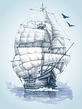 Boat On Sea Drawing. Sailboat Vector Sketch