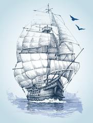 Panel Szklany Marynistyczny Boat on sea drawing. Sailboat vector sketch