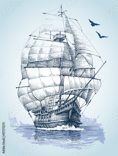 Fotobehang Schip Boat on sea drawing. Sailboat vector sketch