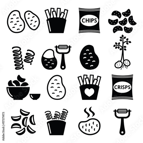 Fotografie, Obraz  Potato, French fries, crisps, chips vector icons set