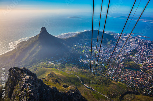 Cape Town from  cable car cabin