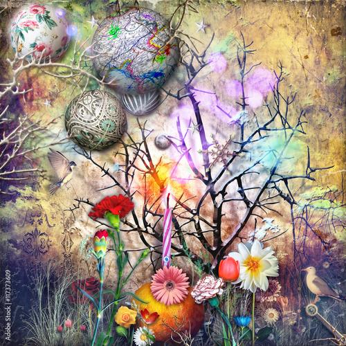 Foto op Aluminium Imagination Bosco delle fiabe con stelle,fiocchi di neve e magici fiori fantastici e tropicali